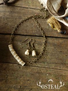 River Witch  earrings and necklace bone jewelry vertebra by Osteal, $30.00
