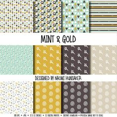 Check out Modern Neuroscience Paper Pack   Mint & Gold   Instant Download on handmadephd