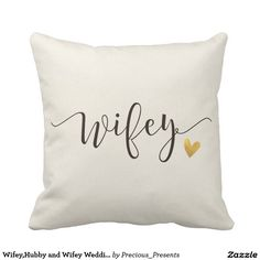 COUPLES OR BRIDAL SHOWER GIFT Wifey Heart Gold Glam Throw Bed Pillow  #wifey #wedding #gift