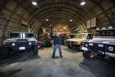 Land Rover fan in his garage
