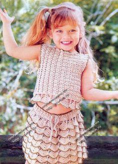 Топ и юбка для девочки связанные крючком Adorable Outfit-Graph Pattern