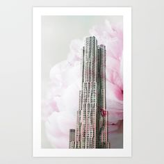 Floral Architecture Art Print  -   #society6 #gehry #architecture #flower #bloom #nature #organic #feminine #gentle #modern #clean #floral #newyork #photography #isdesignlabs