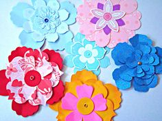 Flowers Embellishments Layered 3D Handmade Paper 6 pcs by Wcards, $4.00