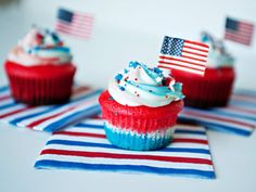 4th of July Desserts to Eat With Pride Flag Cupcakes    If you think the outside is pretty, just wait until you see the swirly gorgeousness inside this cupcake when you take a bite