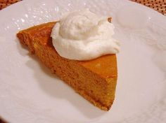 One Point Pumpkin Pie (Crustless) from Food.com: our dessert tonight! Yum! I got this recipe from my weight watchers group. I admit I do prefer traditional pumpkin pie but this is pretty good. All the ingredients are core, too, even though baked goods dont qualify as core due to abuse potential.
