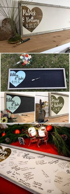 Rustic Wedding Guest Book Alternative - Wood Wedding Sign - Custom Wedding Guestbook - Wedding Gift Sign - Wedding Names and Dates #guestbooks