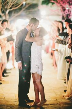 #sparklers #kiss #getaway Photography by onelove-photo.com  Read more - http://www.stylemepretty.com/2013/08/22/san-juan-capistrano-wedding-from-onelove-photography/