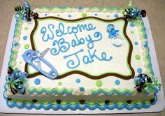 Cake for boy shower Torta Baby Shower, Baby Shower Sheet Cakes, Baby Shower Cakes For Boys, Baby Shower Niño, Baby Boy Cakes, Shower Bebe, Baby Shower Parties, Green Cake, Baby Sprinkle