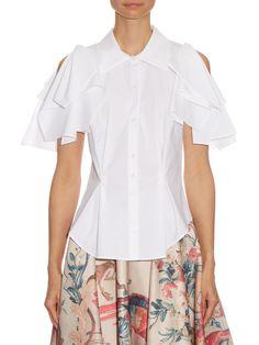Open-shoulder draped cotton-poplin shirt | Giles | MATCHESFASHION.COM