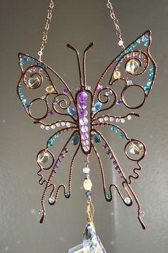 Super brillante mariposa suncatcher de piedra preciosa
