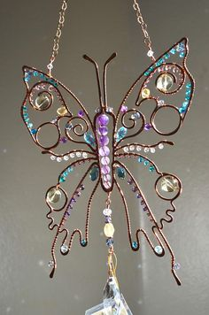 Super sparkly Butterfly gemstone suncatcher Swarovski crystal