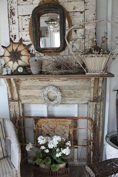 Rustic mantel decor