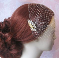 Bridal Veil and Gold Bridal Comb, Bandeau Birdcage Veil, Bird Cage Veil With Rhinestone Fascinator Comb - CAMRIA