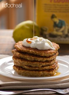 Pear & Chia Whole Wheat Pancakes - crunchy, fluffy and moist healthy pancakes.
