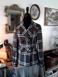 Small Brown Plaid Hippie Jacket  70's Style by LittleVixensVintage