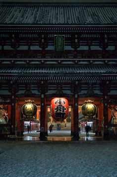 Senso-ji temple, Tokyo, Japan  One of my favorite temples in Japan...partly because of the charming shops along the road that leads to the temple.