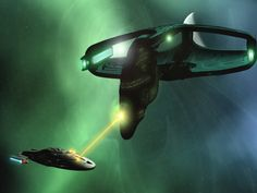 Voyager and Romulan Warbird- a new twist on David and Goliath.