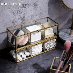 Perfect for keeping accessories and make up supplies organized, the Glass Gold Storage Box adds charm to dressers, shelves and vanities. Makeup Storage Organization, Bathroom Organisation, Storage Bins, Storage Rack, Bathroom Storage, Cute Room Decor, Room Decor Bedroom, Vanity Decor, Aesthetic Room Decor