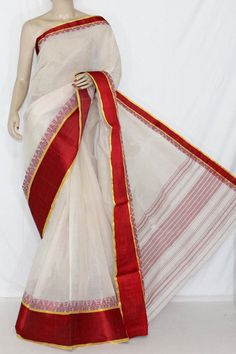 Off-White Maroon Handwoven Dhaniakhali Bengali Tant Cotton Saree (Without Blouse) 13922