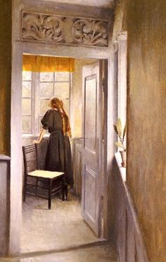 Looking Out The Window. Peter Ilsted. (1861-1933)