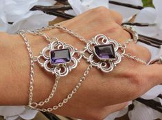 Amethyst Slave Bracelet Ring Bracelet Hand by TheMysticalOasisGlow, $24.00