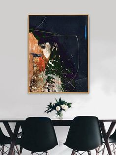 Minimalist Abstract Art, Large-scale printable painting with dark navy blue, orange acrylics. A classy, modern abstract that works well as part of a dark themed room or as a stand-out piece for an all-white interior. Acrylics with collage. None of my artwork is available on the