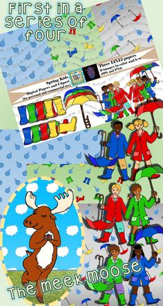 This first in a series of four Seasonal Kids packages takes delight in a passing rain shower and getting out the rain boots to go stomp in some puddles. 75 total files.  Black and white included in packages - great for creating your own coloring book pages, or storytelling stick puppet scenes.