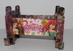 Upcycled doll cradle / crib / wooden doll cradle / doll cradle princess aurora ariel and belle rocking doll cradle princesses Disney Princess Aurora, Disney Princesses, Sell On Etsy, My Etsy Shop, Wooden Cradle, Wooden Dolls, Beautiful Dolls, Picture Frames, Upcycle