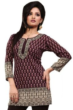 07e538fc412 India Tunic Top Kurti Womens Printed Blouse Indian Apparel (Brown, S) Maple  Clothing
