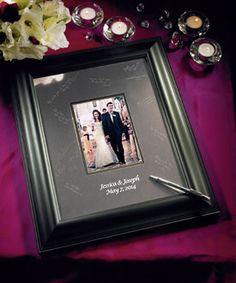 Black Framed Inscribable Signature Keepsake Mat Kit - definitely want this, possibly with a guest book as well.