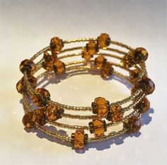 Gold and Amber Crystal Memory Wire Bracelet