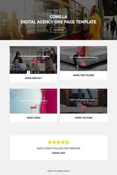Comilla is Responsive Digital Agency Template fresh and clean Design. It makes for corporate/business websites, creative agencies and other businesses. Joomla Templates, Card Templates, Page Design, Web Design, Jquery Slider, Food Template, Exclusive Homes, Video Home, Corporate Business