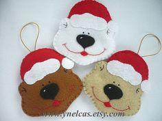 Bear, felt Christmas ornament - ONE Ornament - Original Decoration