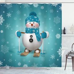 Skiing Snowflakes Fun Shower Curtain – joocarhome Rustic Shower Curtains, Curtain Store, Square Tables, Table Covers, Table Linens, Your Pet, Snowflakes, Skiing, Vibrant Colors