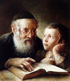 Elena Flerova -The Lesson Jewish Art Oil Painting Jewish History, Jewish Art, Art History, Cultura Judaica, Arte Judaica, Reading Art, Kids Reading, People Reading, Lectures