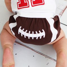 RuggedButts Football Bloomer© - Diaper Cover | Baby Clothes and Maternity Clothes Available at Due Maternity and Baby www.duematernityandbaby.com