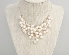Wedding Necklace, Bridal Necklace, Pearl Cluster Necklace, Pearl Necklace, Wedding Necklace on Etsy, $254.73 CAD
