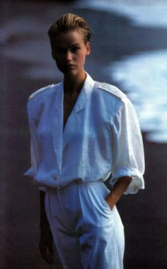 """fashiion-gone-rouge:  """"Jaeger, American Vogue, March 1986.  """""""