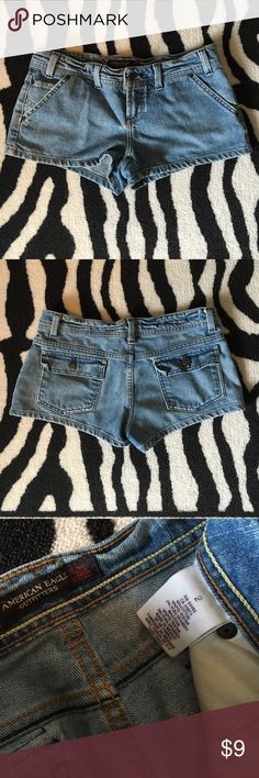 """American Eagle denim shorts American Eagle Outfitters light wash denim shorts. Some distressing details. Size 2. In preloved condition; no stains or tears. 2"""" inseam. Cotton/poly/spandex blend. American Eagle Outfitters Shorts Jean Shorts"""