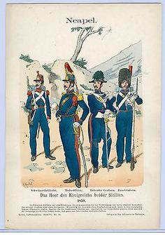 """Hand Colored Print from """"Uniformenkunde"""" by Richard Knotel: Neapel. 1859 in Art, Art from Dealers & Resellers, Prints Military Art, Military History, Two Sicilies, Army Uniform, Military Uniforms, Military Costumes, Napoleonic Wars, Modern Warfare, New York Public Library"""