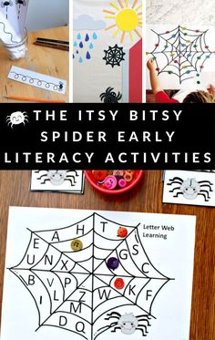 Build early literacy skills with these The Itsy Bitsy Spider activities for young children. ABC to fine motor ideas. #bookactivities #theitsybitsyspider #spiders #teaching #GrowingBookbyBook