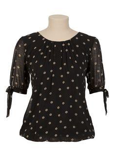 $26 Bow Sleeve Dot Blouse - maurices.com