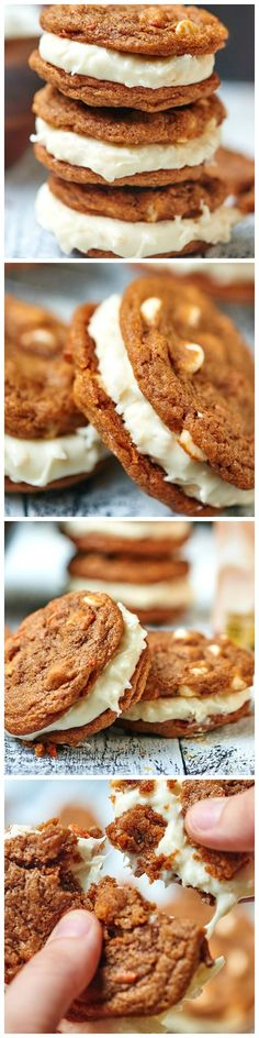 Carrot Cake Cookies studded w/ white chocolate chips & smothered in a Coconut Cream Cheese Frosting! (I'd change the white chocolate chips for raisins, and make it just cream cheese frosting) Cookie Desserts, Just Desserts, Cookie Recipes, Delicious Desserts, Dessert Recipes, Yummy Food, Carrot Cake Cookies, Yummy Cookies, Yummy Treats