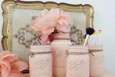 Romantik evim -Romantik dekorasyonlar Vintage kavanozlar-pembe kavanozlar Sakayik cicegi-pastel pembeler