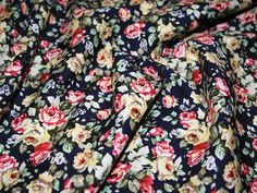 Navy Blue Traditional Floral 100% Cotton Poplin Dress Fabric - per metre Preview