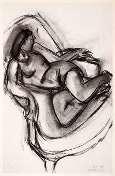 1969 Photolithograph Henri Matisse Charcoal Sketch Reclining Woman Modern XDB7