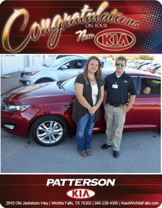 Congratulations Cady Alvarado on your NEW 2013 Kia Optima! - From Brandon Warton at Patterson Kia