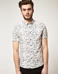 #Asos White Printed #shortsleeve Shirt