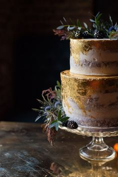 Blue Gold Leaf Cake Buttercream Rustic Luxe Victorian Wedding Ideas http://www.francescarlisle.co.uk/