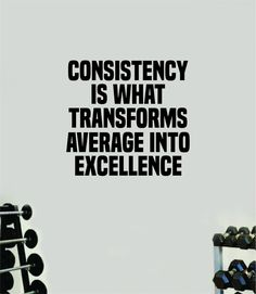 Consistency Average Excellence Wall Decal Home Decor Bedroom Room Vinyl Sticker Art Teen Work Out Quote Beast Gym Fitness Lift Strong Inspirational Motivational Health - yellow